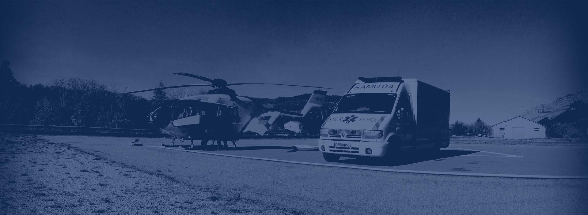 Hélicoptère et ambulances volpe